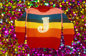 CUSTOM Initial Rainbow Sequin Sweater
