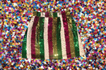 Sequin Spirit Skirt Mardi Gras Stripe