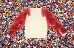 White and Red Metallic Tassel Sleeve Sweater