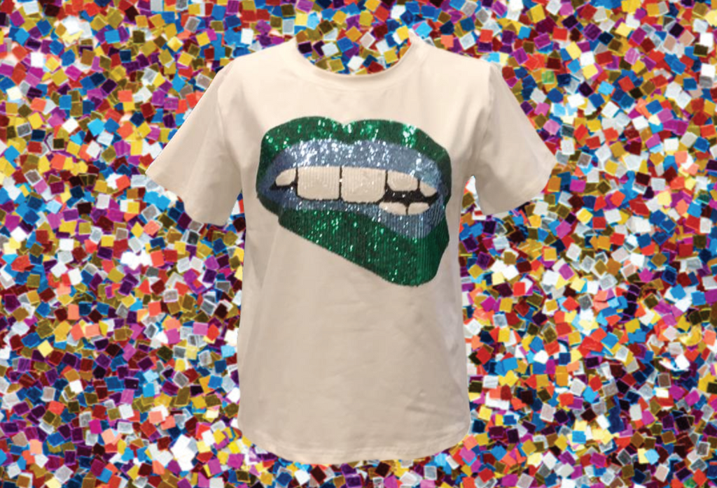 Gameday Grin Blue/Green Lips Tee