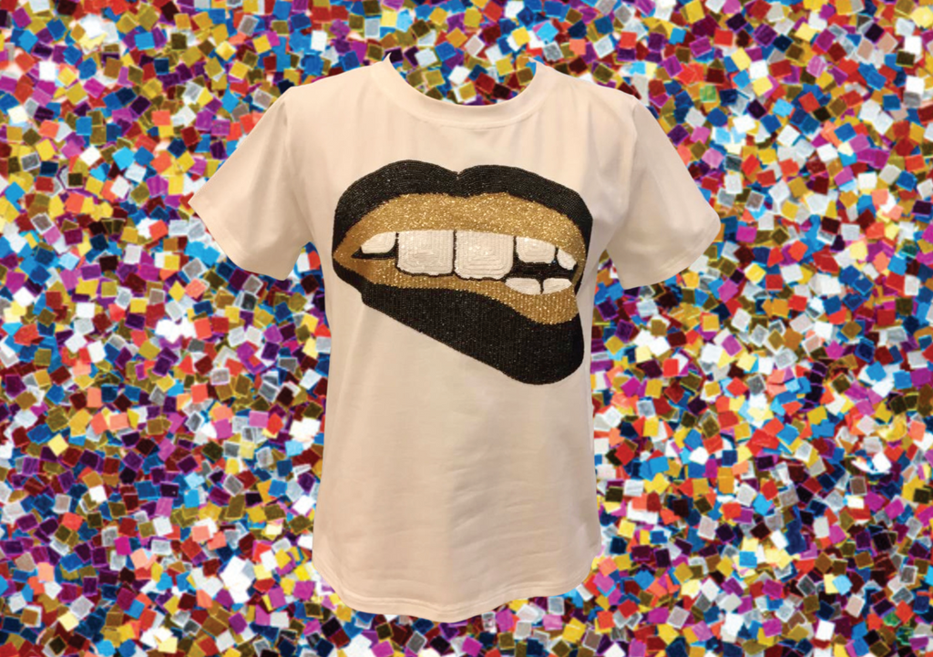 Gameday Grin SAINTS Glitter Black & Gold Lips Tee