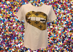 Gameday Grin SAINTS Gold Fleur de Lis Lips Tee