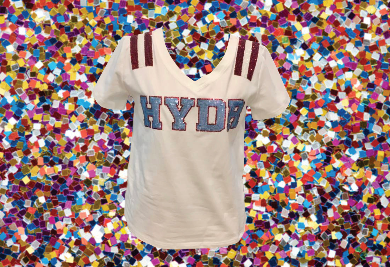 HYDR White Ole Miss Sequin Jersey Tee