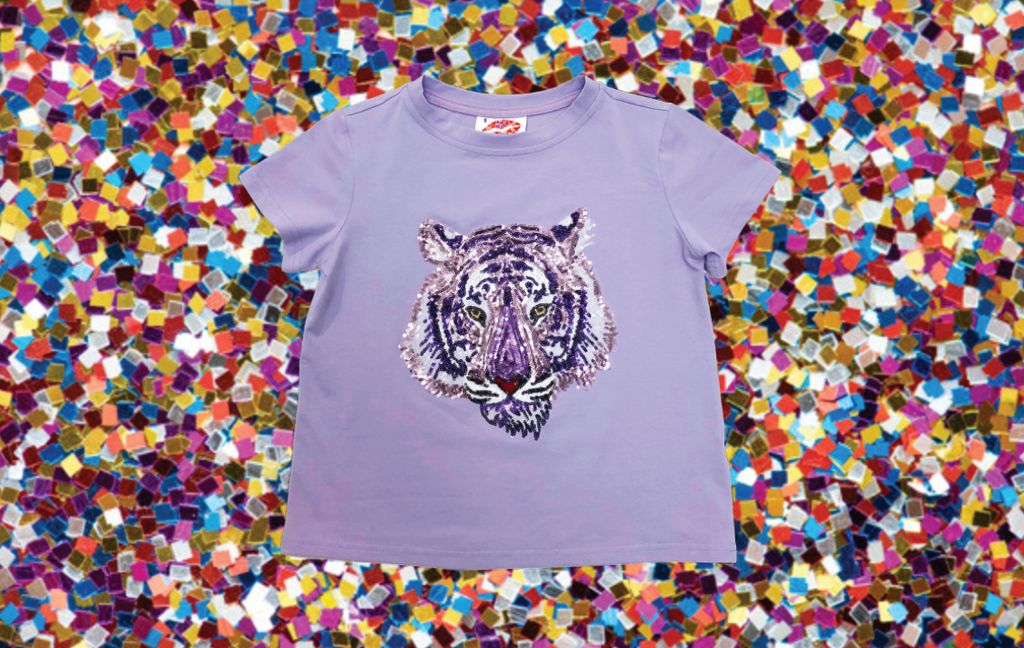 KIDS Tiger Head Tee Lavender
