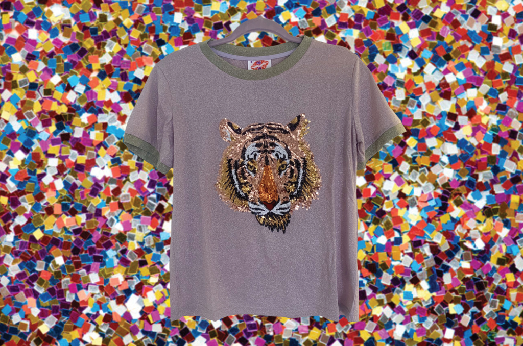 Light Glitter Tiger Head Two-Tone Tee