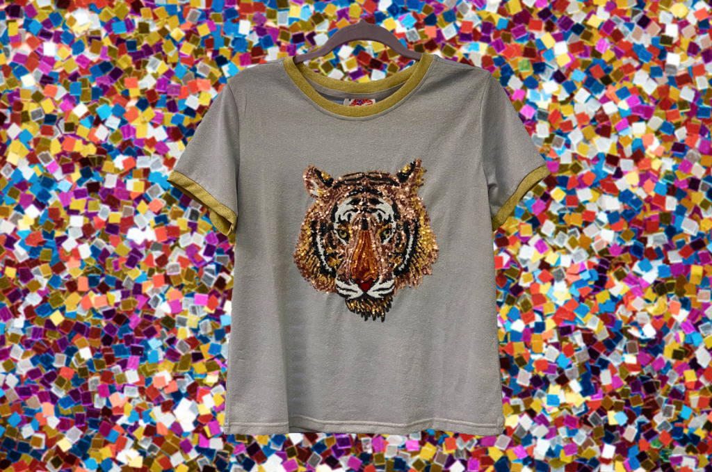 Grey Glitter Two-Tone Tiger Head Tee