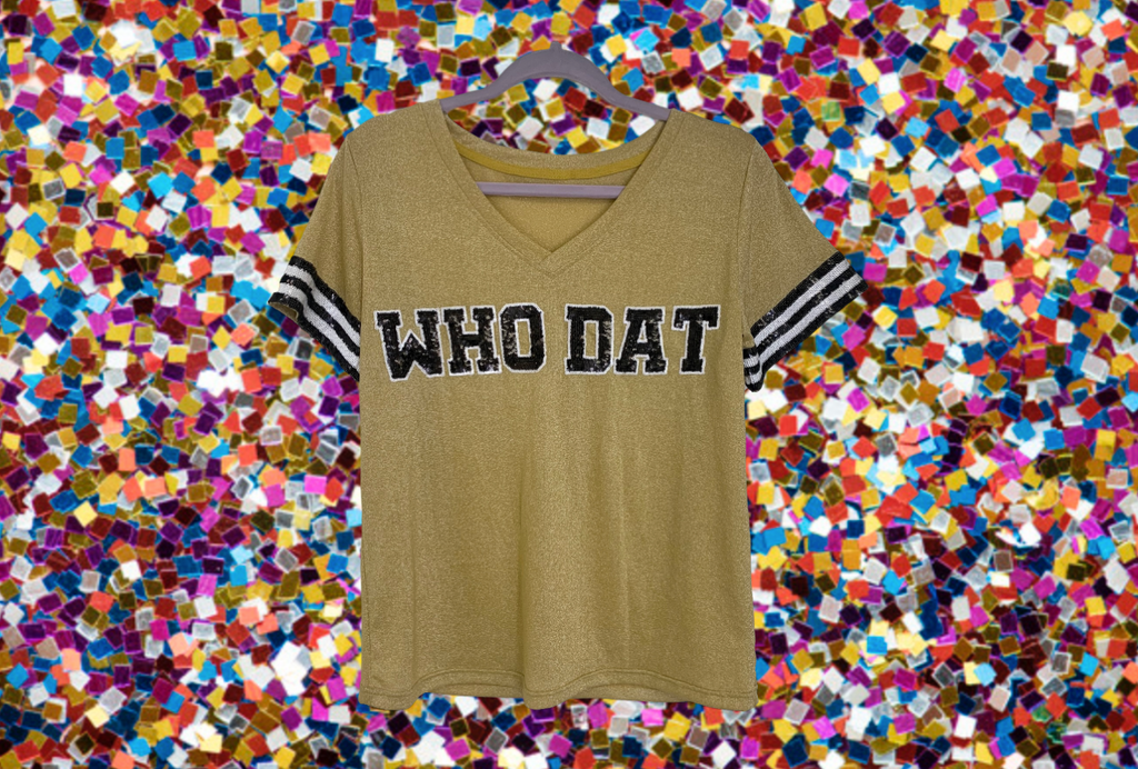 WHO DAT Gold Glitter Jersey Tee