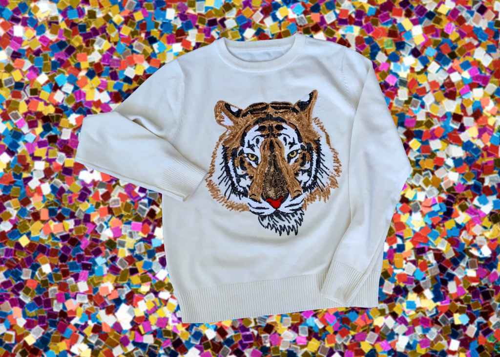 Mega Mike Sequin Tiger Sweater White