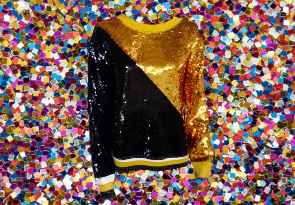 Seaux Sequin Sweater Black/Gold