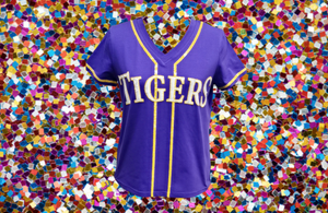 Sparkle Slugger TIGERS Purple Jersey Tee