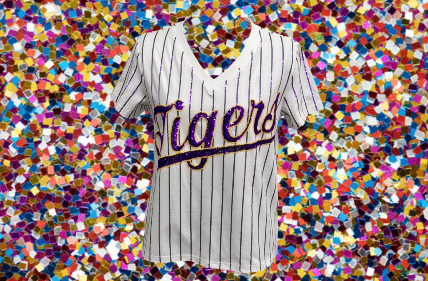 Sparkle Slugger TIGERS Pinstripe Jersey Tee