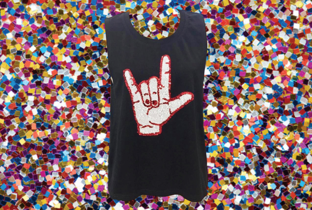 ULL Cajuns Hand Sign Tank Top Black