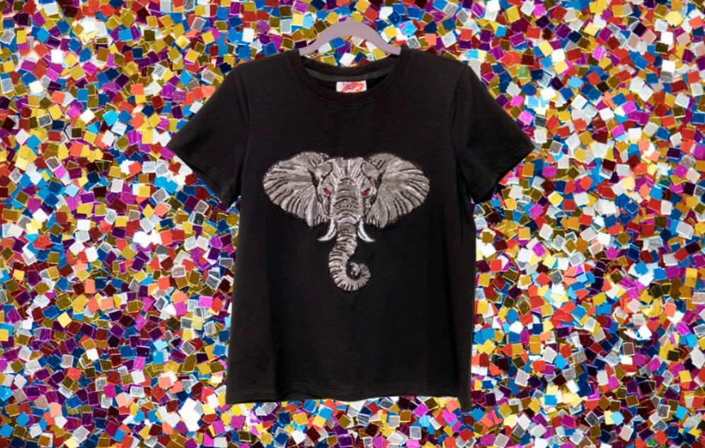 Black Elephant Head Tee