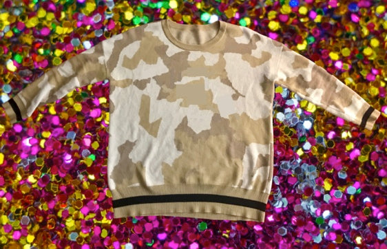 GLAMO Camo Oversized Sweater