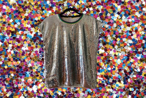 Silver Sister Cap Sleeve Sequin Top