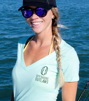Women's Mint Cobia V-neck Short Sleeve Tee