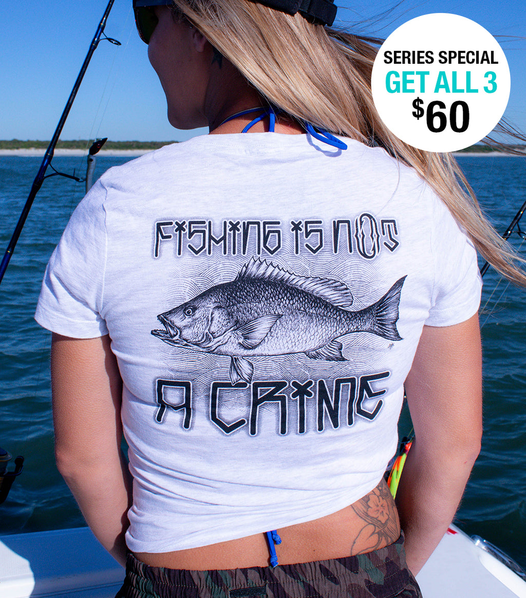 Women's Ash White Red Snapper V-neck Short Sleeve Tee