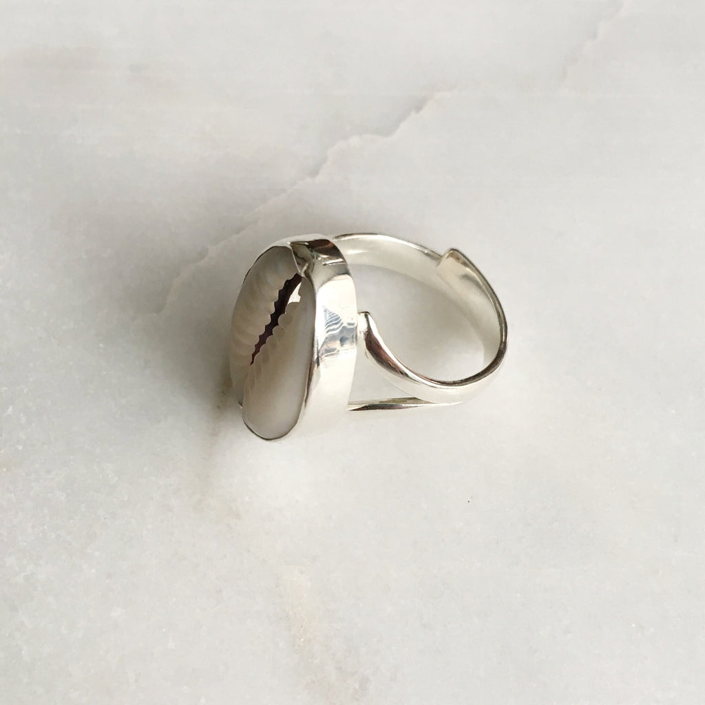Sweet Palms Kauri shell ring silver