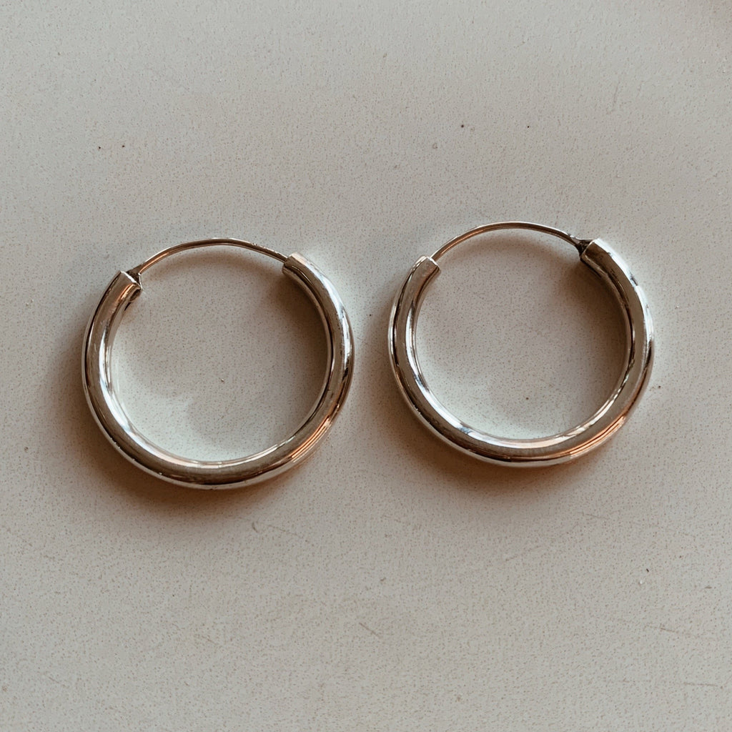 Hoop Earrings Large - Silver