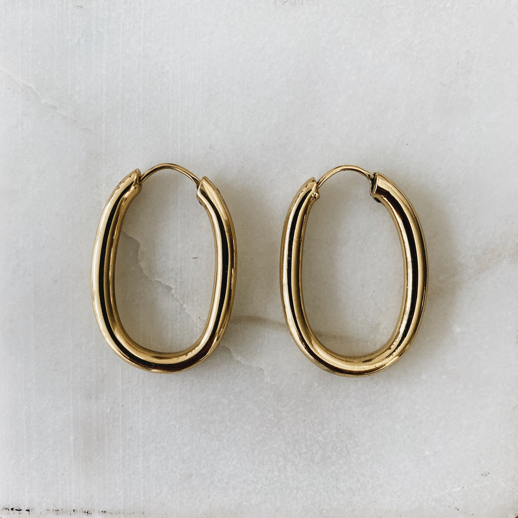oval hoops large gold