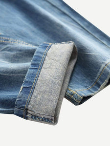 Men Ripped Detail Wash Jeans