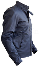 Load image into Gallery viewer, Men Bluish Gray Faux Leather Jacket