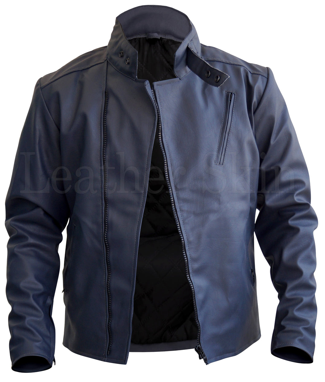 Men Bluish Gray Faux Leather Jacket