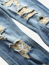 Load image into Gallery viewer, Men Ripped Detail Wash Jeans