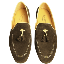 Load image into Gallery viewer, Suede Loafers in Calf Leather Trimming Brown