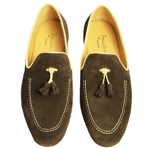 Suede Loafers in Calf Leather Trimming Brown