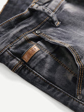 Load image into Gallery viewer, Men Plain Washed Skinny Jeans