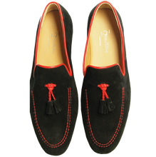 Load image into Gallery viewer, Suede Loafers in Calf Leather Trimming Black