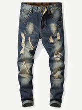 Load image into Gallery viewer, Men Rolled Hem Destroyed Jeans