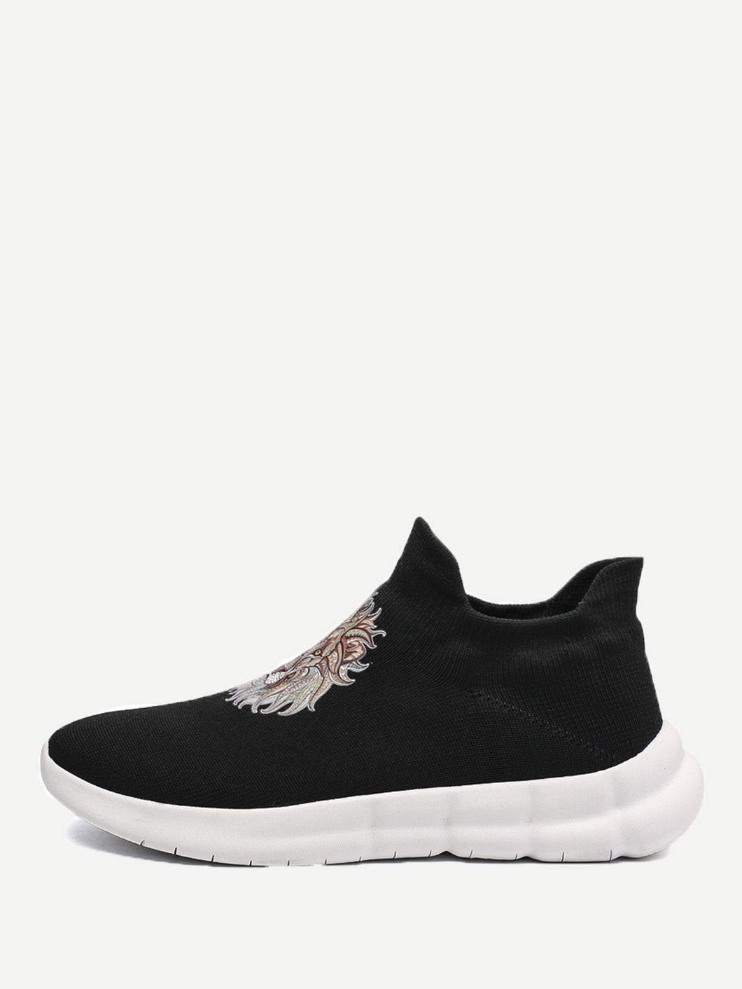 Men Lion Print Slip On Sneakers