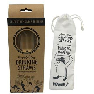 Reusable Glass Straws - 4 pk 2 cleaners