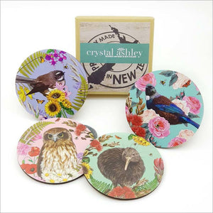 Coasters: Printed Floral NZ Birds