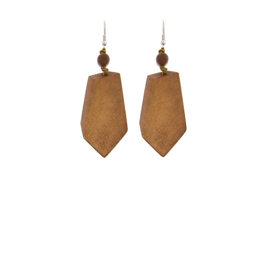 Timber Diamond Drop Hook Earring Tan