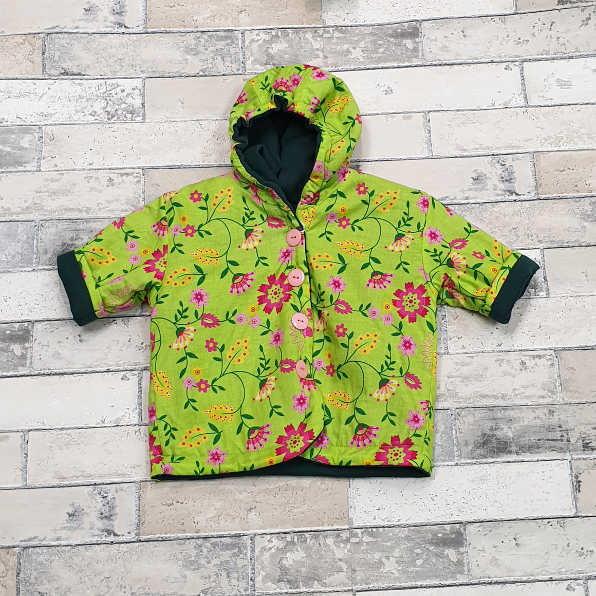 Lily Jacket - Green w/ Pink Flowers 1-2 yrs