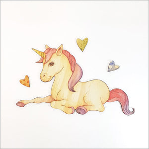 Unicorn Sitting  - Kids Pine Wall Art