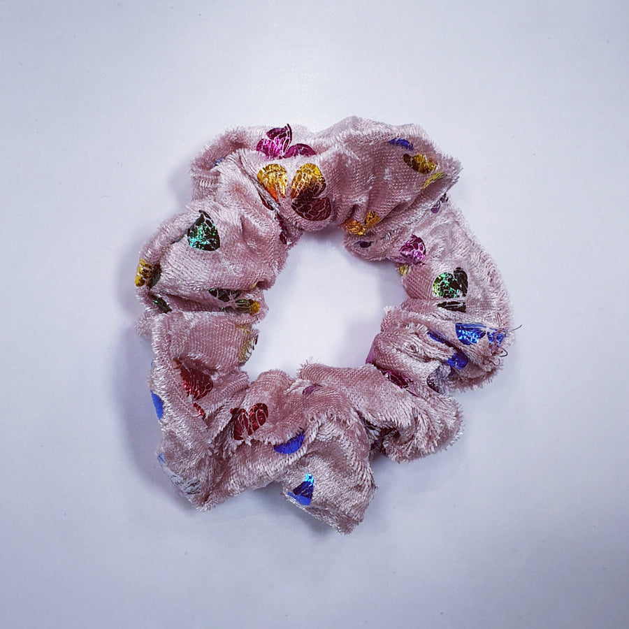 Scrunchie - Pink Velvet with Butterflies
