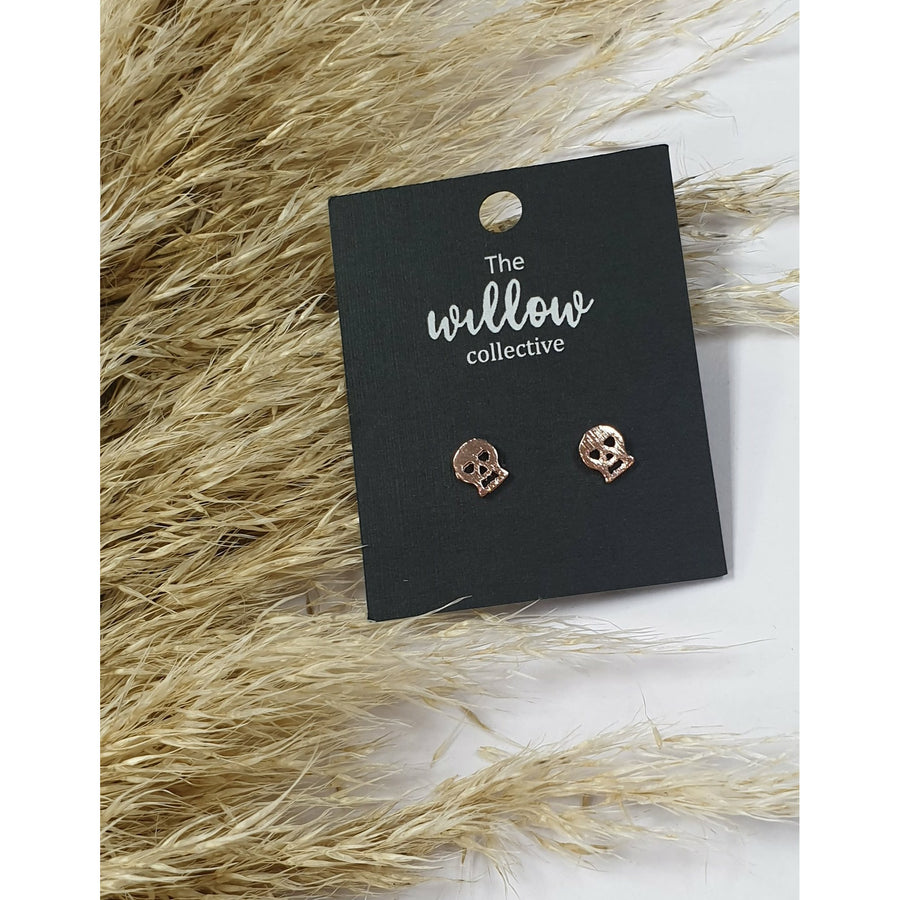 The Willow Collective - Heart Eye Skull Stud Earrings