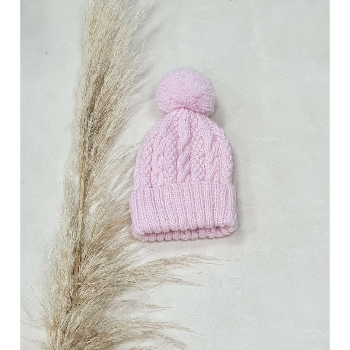 Baby Cable Knit Beanie - Baby Pink