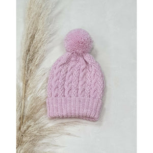 Baby Cable Knit Beanie - Pink