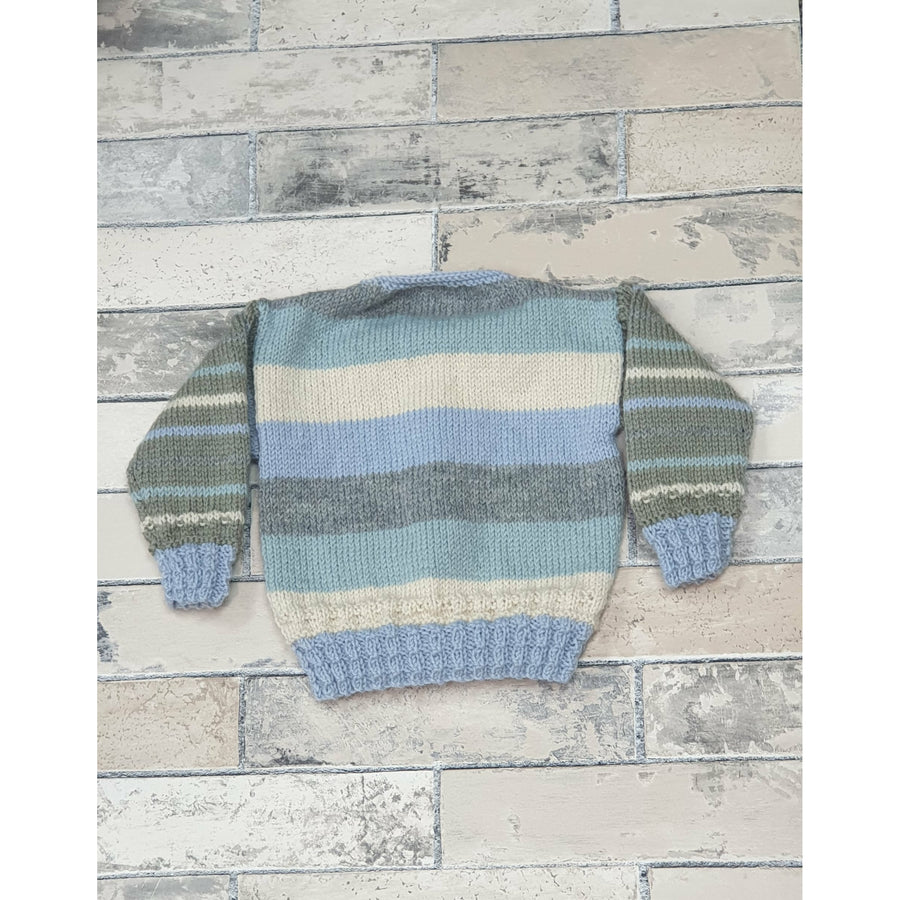 KNITWEAR - Light Teal, Grey and Blue Trim Cardie - 6-12mnths