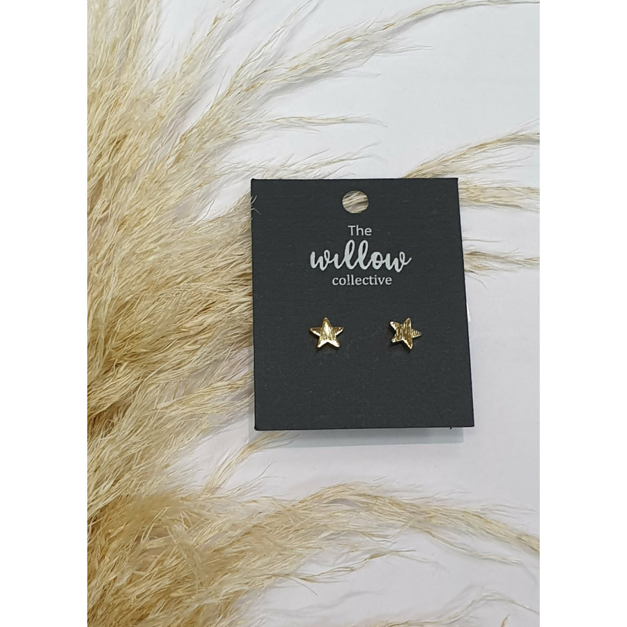 The Willow Collective - Brushed Stars Stud Earrings