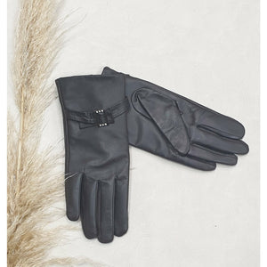 Leather Gloves with Buckle - Brown Size Medium