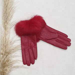Leather Gloves - Rabbit Fur Trim - Red Size Medium