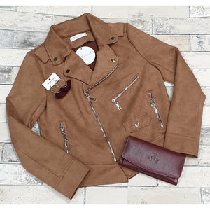 Dani Suede Zip Biker Jacket - Tan