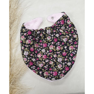 Baby Dribble Bibs - Black w/ Pink Flowers