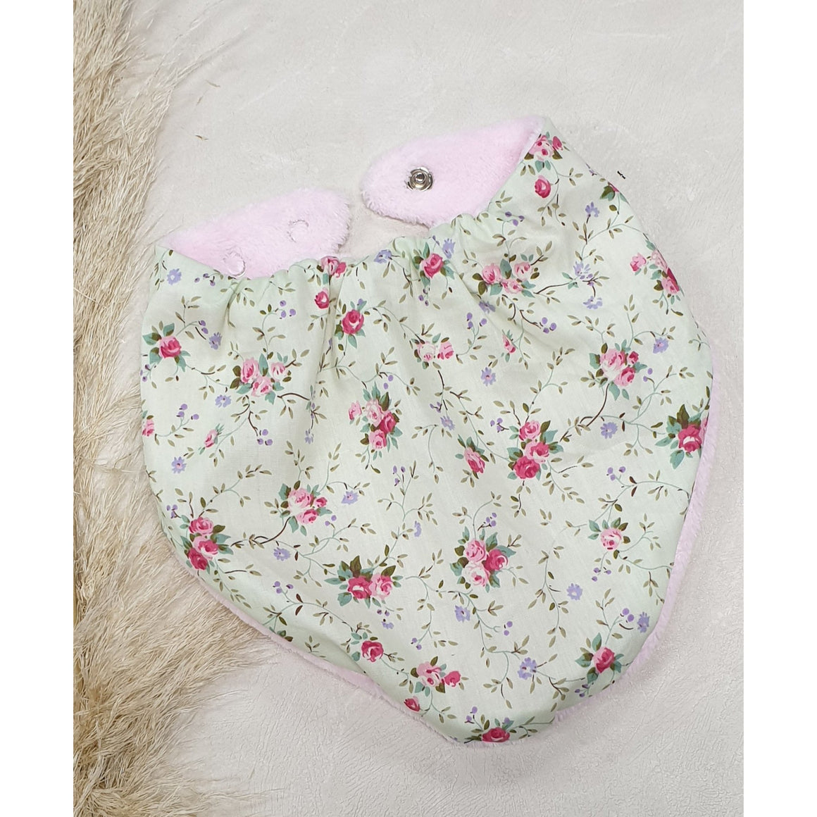 Baby Dribble Bibs - Pale Green  w/  Pink Flowers